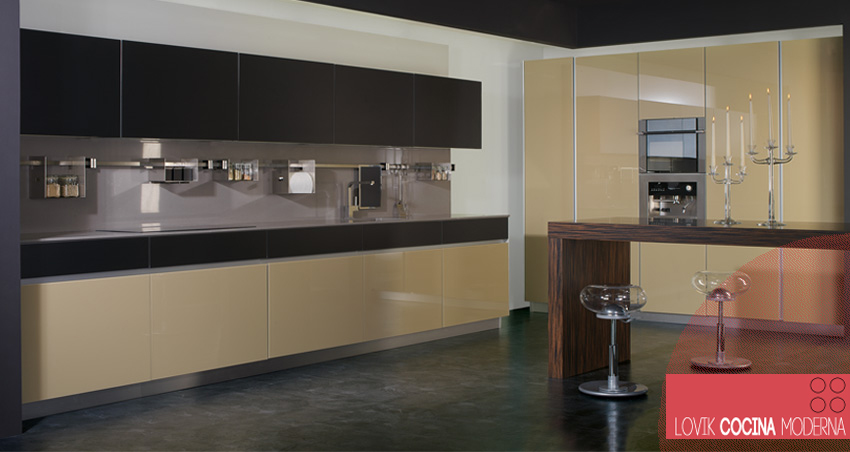 Lovik Cocina Moderna Cocina de cristal beige - Lovik Cocina Moderna