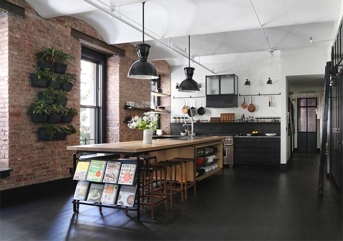 cocina-loft-nueva-york-estilo-industrial-suelo-negro
